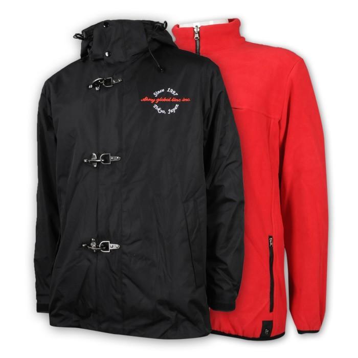 J845 設計兩面穿風褸外套 印花logo外套 可拆卸帽 鐵扣 接合款 物流公司制服 風褸外套製衣廠