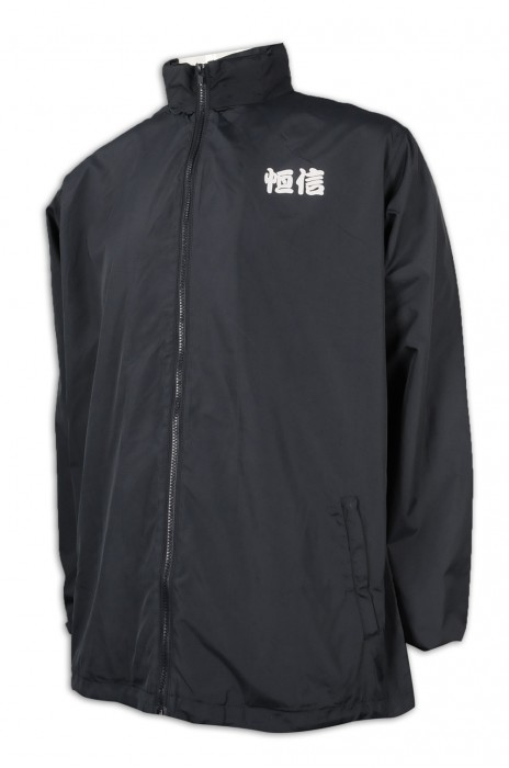 J847 訂做黑色連帽風褸外套 可拆卸帽 風褸外套供應商