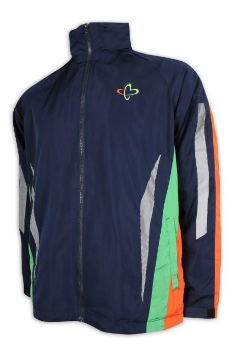J852 訂製撞色連帽風褸外套  魔術貼袖口 特別反光設計 3色撞色 風褸外套生產商