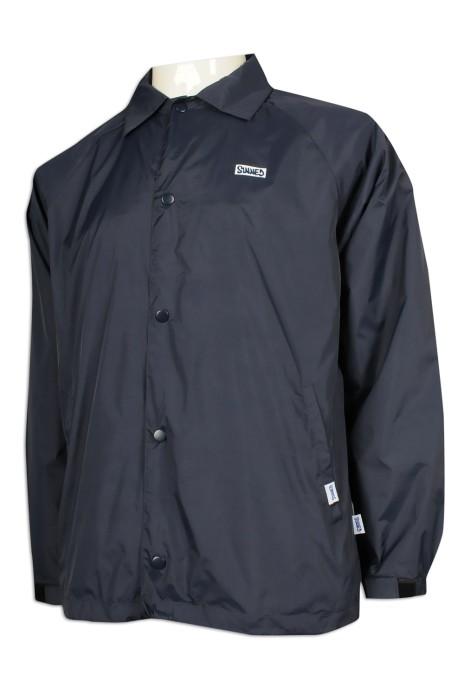 J855 訂做黑色風褸外套 魔術貼袖口 印花logo 100%滌 風褸外套供應商