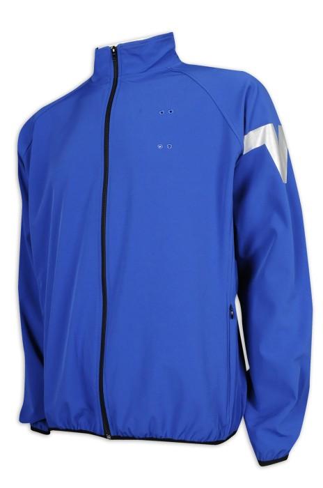 J861 訂做淨色風褸外套 修身設計 排名牌 印銀LOGO 運動複合面料 風褸外套供應商