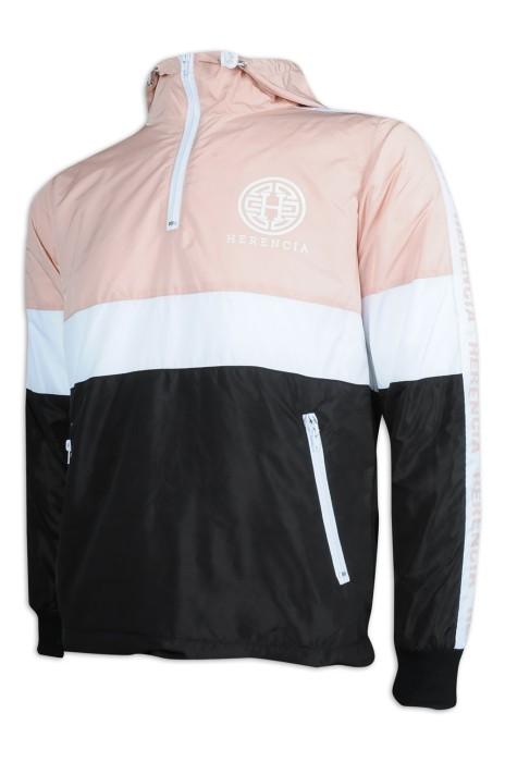 J864 訂造連帽風褸外套 3色撞色 半胸拉鍊 100%滌 風褸外套製衣廠
