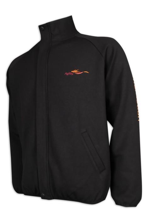 J865 訂製男裝黑色風褸外套 幼袖口車邊設計 物流行業 風褸外套生產商