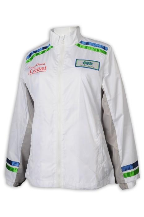 J868 訂做女裝風褸外套 撞色 色丁織帶 袖口 前肩 風褸外套製衣廠