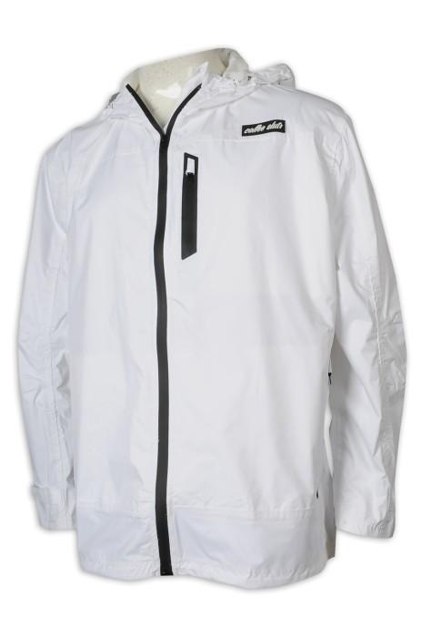 J873 訂製連帽風褸外套 防水拉鍊款 尼龍210T 銀包袋 風褸外套供應商