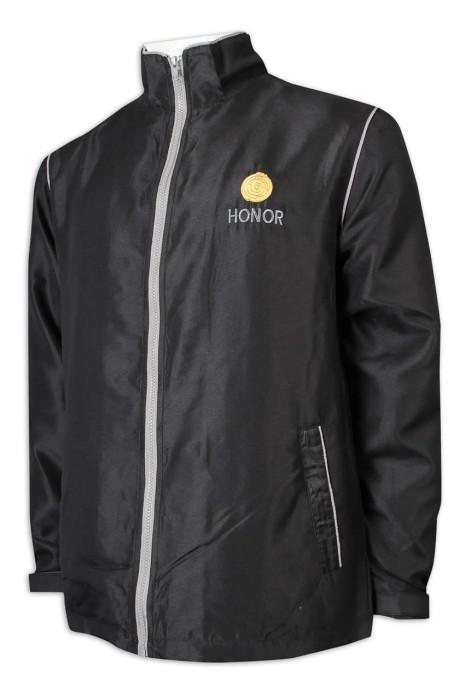 J876 製造風褸外套 淨色 拼色拉鏈 魔術貼袖口 反光條 風褸外套生產商