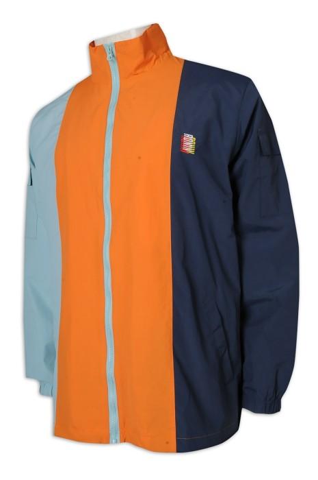 J878 訂做風褸外套 拼色 高領 拉錬 美國 手臂袋 100%棉 袖位 袋口 三色撞色 風褸外套專門店