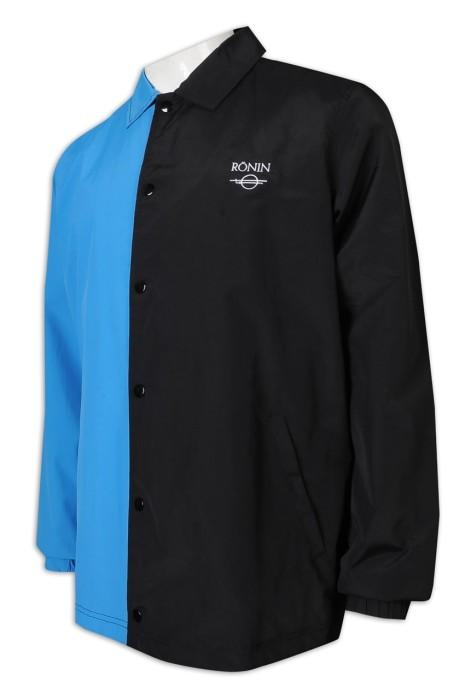 J879 製造風褸外套 美國 拼色 兩色撞色 100%棉 風褸外套生產商