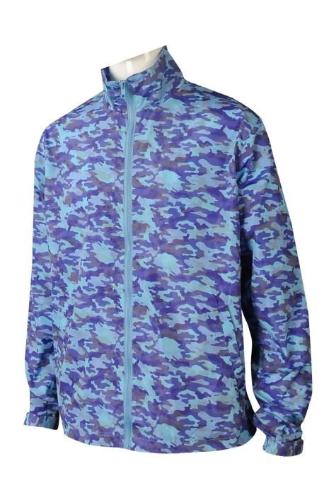 J882 訂購迷彩直袖風褸  設計反光迷彩風褸外套 風褸製造商 藍色 迷彩 反光印花