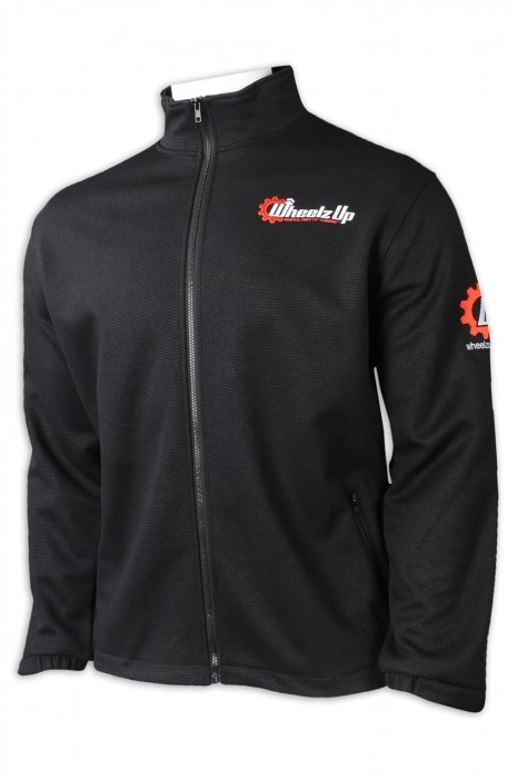 J884  設計黑色風褸  訂做拉鏈外套 袖口魔術貼 印花logo   牛津 挺身 厚身  黑色