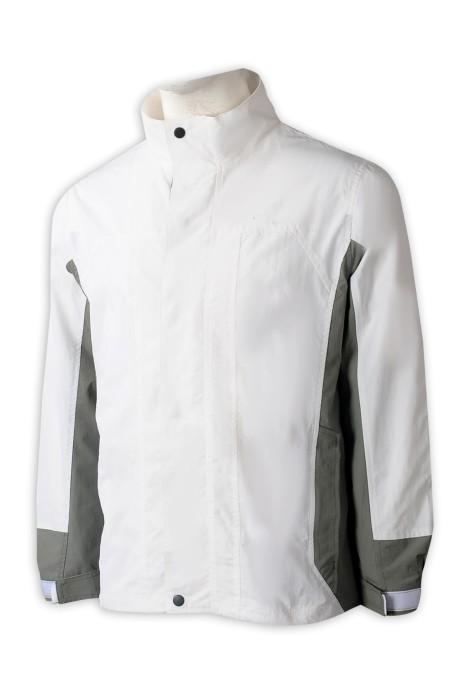 J891 大量訂做男裝外套  時尚設計撞色啪鈕領 魔術貼袖口外套  外套供應商  hk  商場 物業管理公司