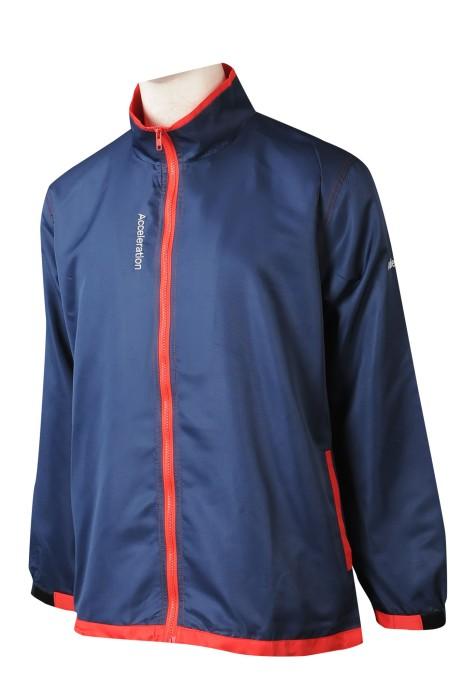J899 網上下單風褸外套 設計撞色拉鏈橡筋袖口工作風褸 風褸專營店 後幅 透風位   山系風褸