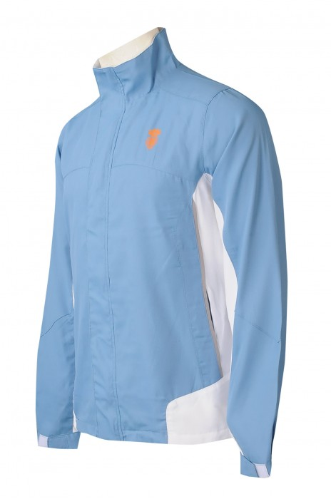 J903   訂製2色拼接風衣外套 設計印花LOGO風衣 設計拉鏈袋口 時裝款式拉鏈風衣 風衣外套中心    山系風褸