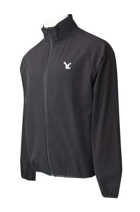 J904  訂造淨色拉鏈外套   設計繡花logo   香港 風褸外套生產商