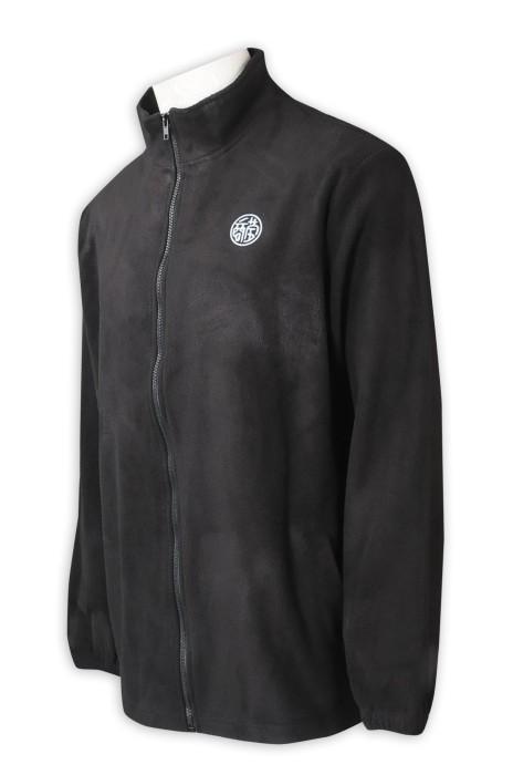 J905  訂製搖粒絨淨色風褸外套   設計拉鏈外套    繡花logo   黑色   風褸外套製衣廠