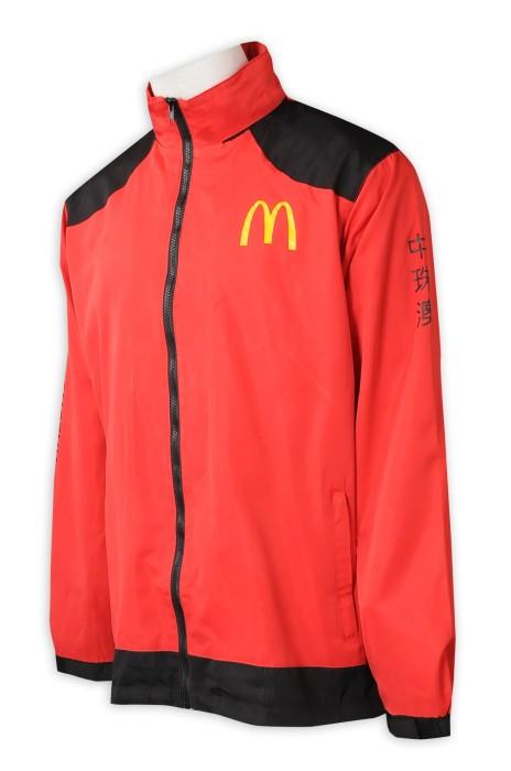J907   計撞色肩風褸外套  訂製撞色拉鏈   扁機袖口  袖邊印字   快餐餐廳制服   風設褸製造商  防水   紅色