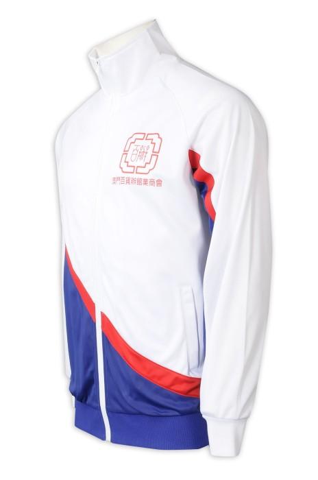J908  設計撞3色風褸外套   袖子內側撞色   金光絨   白色+紅色+藍色撞色    風褸外套工廠   商會制服