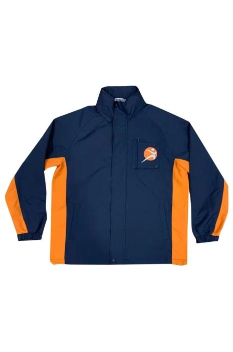 J909 製造立領長袖外套設計印花拼接色長袖外套伸縮活動 logo 袋口名牌隱藏長袖外套生產商