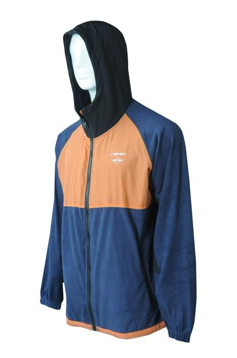 J910  訂造拉鏈連帽風褸  設計拼色風褸   風褸供應商   100%尼龍 +100%滌   可收納後袋
