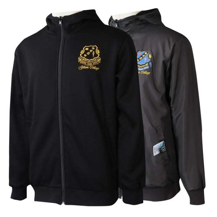 J911  製造黑色兩面穿風褸外套  訂製絲印 繡花LOGO風褸外套   風褸外套供應商   澳大利亞 澳洲 反轉著 中學 soc 褸