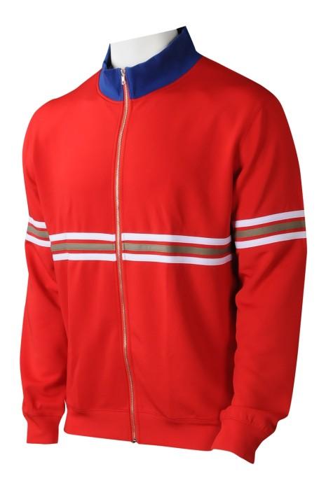 J913  供應紅色拉鏈外套  設計撞色領運動外套繡花  運動外套供應商 街頭時裝  hip hop  美國