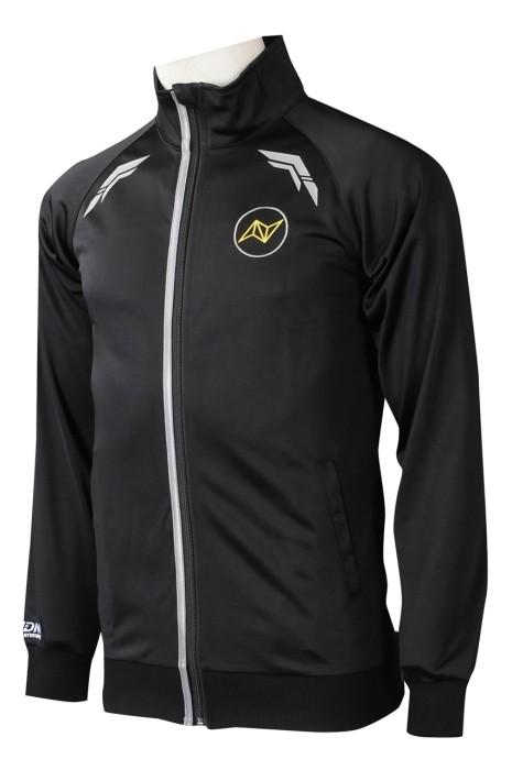 J914  大量訂製黑色拉鏈外套   設計修身羅紋袖口繡花 前後反光條拉鏈外套  拉鏈外套中心  美國  貼身剪裁