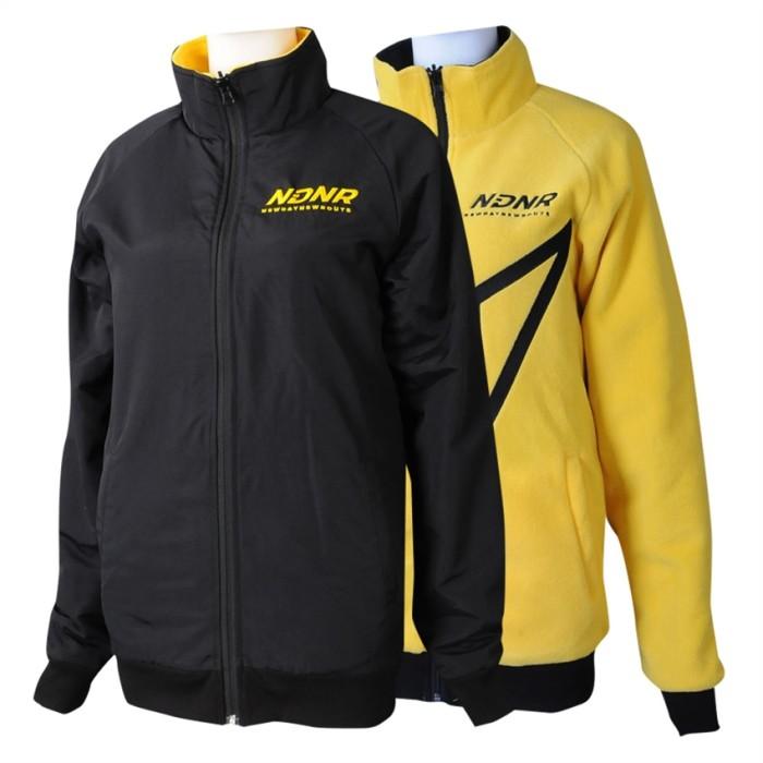 J915  訂製撞色雙面穿風褸外套  個人設計繡花LOGO黃色搖粒絨反面穿風褸外套  外套供應商 推廣 100%滌 美國 零售  行山 跑步