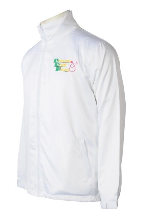 J916  訂做純白色風褸外套     設計繡花logo   兩件裝風褸  風褸外套工廠    學校    保健處