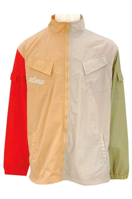 J918   設計拼色風褸外套   訂做繡花LOGO 風褸   拉鏈設計 風褸外套工廠    3色 多袋設計   皺布面