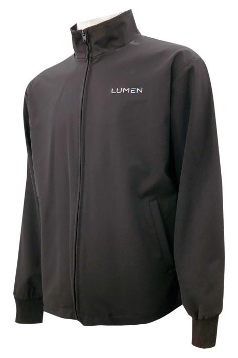 設計拉鏈唇風褸外套    訂做單唇袋風褸外套   繡花   純色  J919