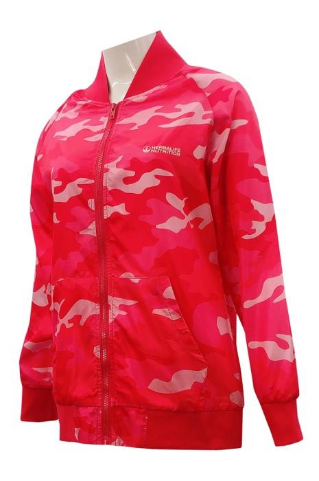 獨家訂製紅色扁機領風褸   設計迷彩紅色風褸外套   領  腳  袖口紅色扁機  拉鏈唇設計  J921
