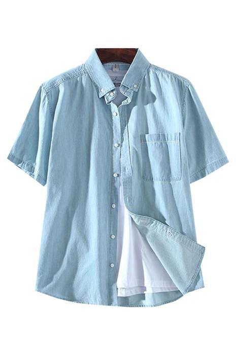 SKJN006 製造短袖牛仔衫 設計翻領牛仔襯衫 牛仔衫中心