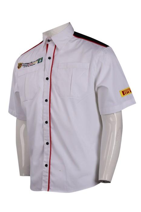 R268 訂製撞色繡花logo恤衫 雙胸袋 車隊衫 機恤 恤衫供應商