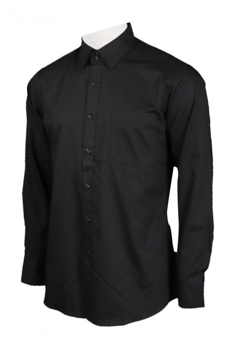 R271 供應黑色男裝正裝恤衫  65%棉 35%滌 HK 沙田萬豪 恤衫製造商