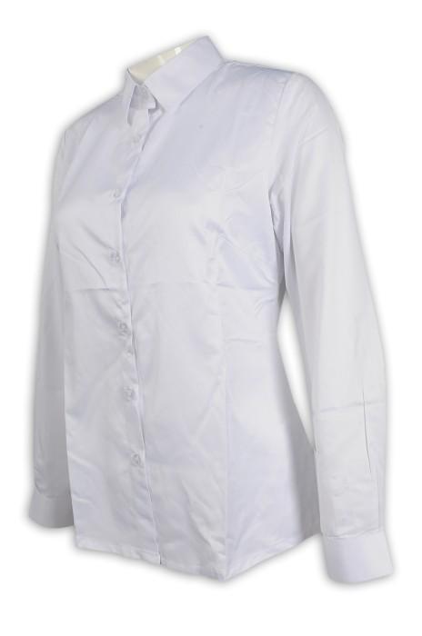 R279 訂購女裝白色恤衫 修身 65%棉 35%滌 新加坡 恤衫製造商