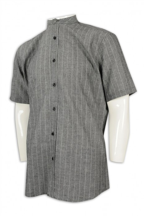 R280 供應條紋短袖恤衫 網上下單男恤衫 恤衫hk中心 短企領 中山領