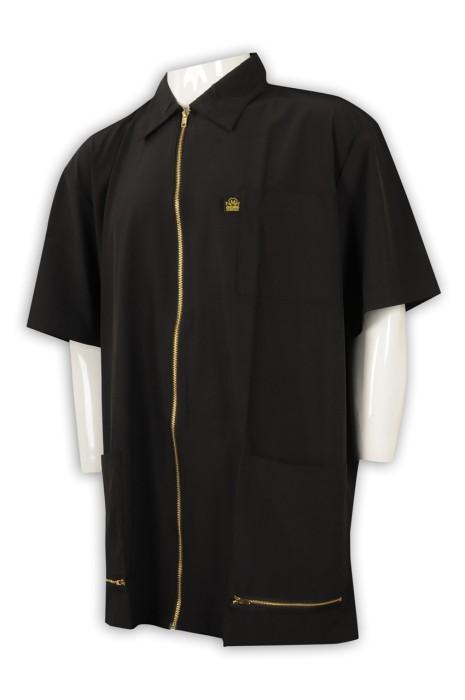 R282 個人設計拉鏈恤衫 金屬拉鏈 供應大碼短袖恤衫  恤衫hk中心 金色拉鍊