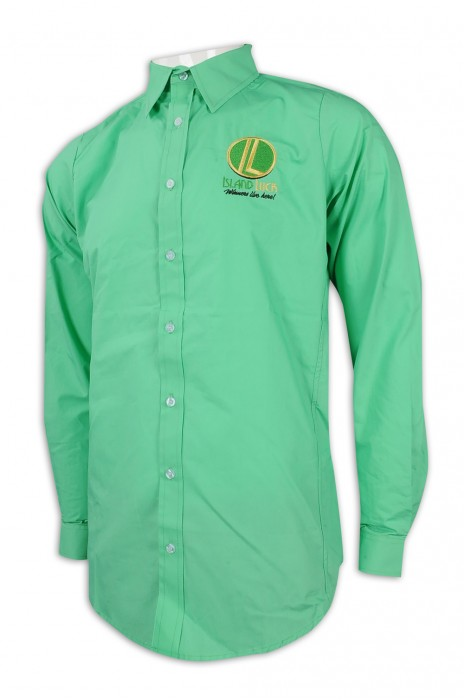 R283 訂做淨色長袖恤衫 繡花logo 酒店 員工制服 恤衫供應商