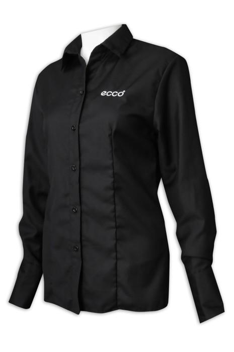 R291製造黑色女裝長袖恤衫 網上下單淨色恤衫 恤衫製衣廠