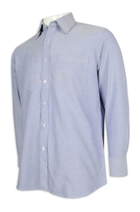R292 設計男裝淨色恤衫 寬鬆 工作服 CVC加厚 65%棉 35%滌 恤衫製造商