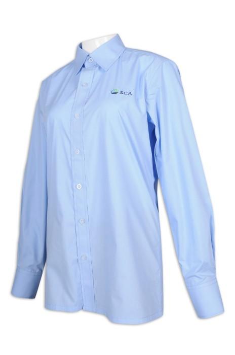R295 訂製女裝淨色長袖恤衫 繡花logo 35%棉 65%滌 瑞典 木材 做紙行業 恤衫生產商