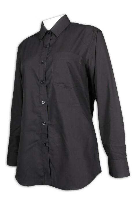 R296 訂做女裝長袖恤衫 職業恤衫 TC高棉 恤衫供應商