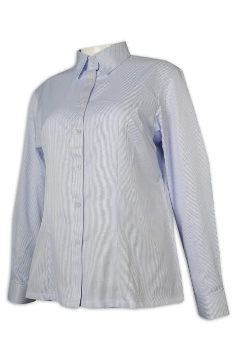 R298 設計女裝長袖恤衫 間條 恤衫製造商