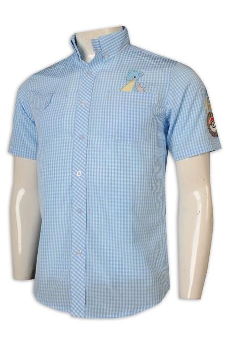 R301 訂做男裝恤衫 網格圖案 印花卡通 電玩遊戲 紀念品 機場商店 員工制服 新加坡 amosmarcus恤衫生產商