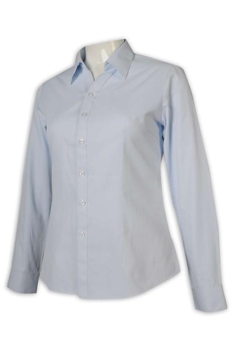 R303 網上下單恤衫 藍色女裝恤衫 修腰 職業裝 上班服 45%棉 55%聚酯纖維 恤衫生產商