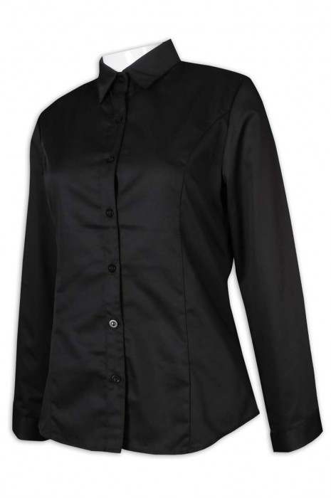 R304 制訂恤衫 黑色恤衫 修身 修腰 翻領恤衫 79.7%聚酯纖維 20.3%粘纖 恤衫供應商