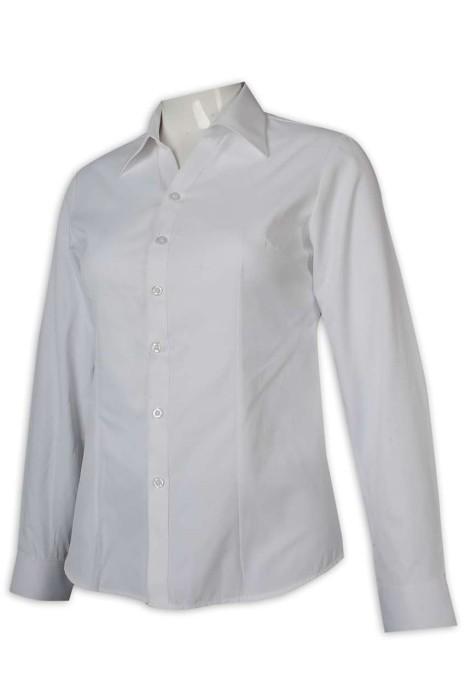 R306 度身訂做恤衫 女裝淨色恤衫 白色 修腰 45%棉 55%聚酯纖維 恤衫供應商