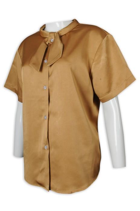 R309 來樣訂做恤衫 女裝 短袖 淨色 綁帶領 金色 頸巾 設計款 恤衫專門店