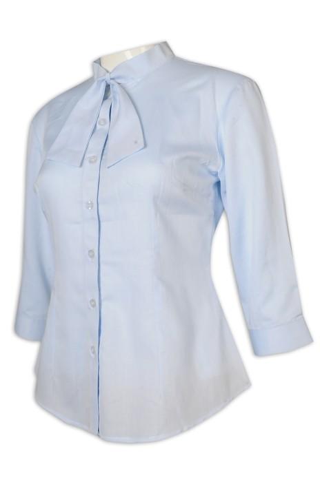 R311 團購訂做恤衫 女裝 七分袖 領花 修腰 淨色 恤衫供應商