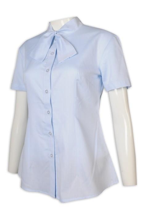 R312 來樣訂做恤衫 短袖 女裝 領花恤衫 淨色 領花 恤衫生產商